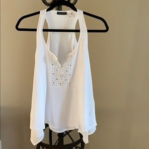 White tank top with studded-rhinestone inset